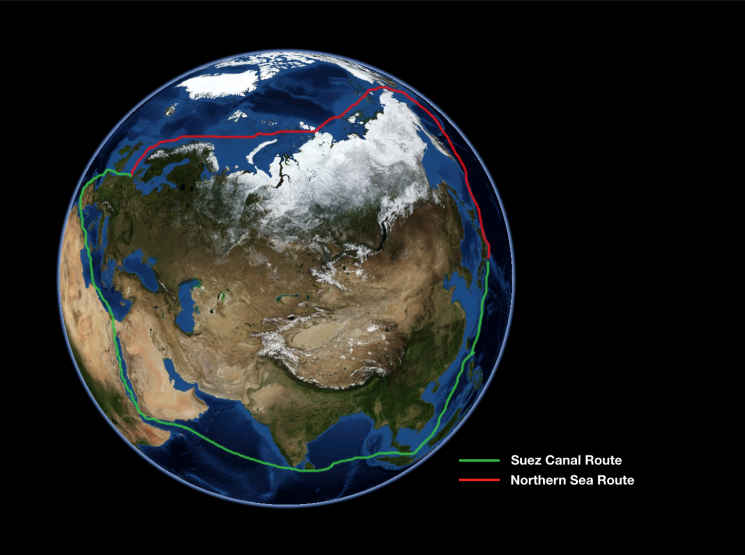 The Northern Sea Route would allow countries to bypass the longer Suez Canal Route.