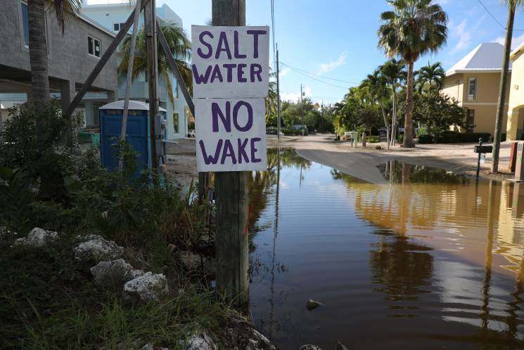 A sign reads,' Salt Water No Wake', as ocean water floods a street on October 22, 2019 in Key Largo, Florida. King tide level waters combined with earlier storms and other factors has forced water onto the streets in parts of the Florida Keys, which will likely see increased flooding as sea levels continue to rise.; Getty