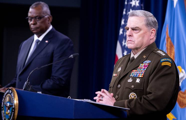 military man at podium