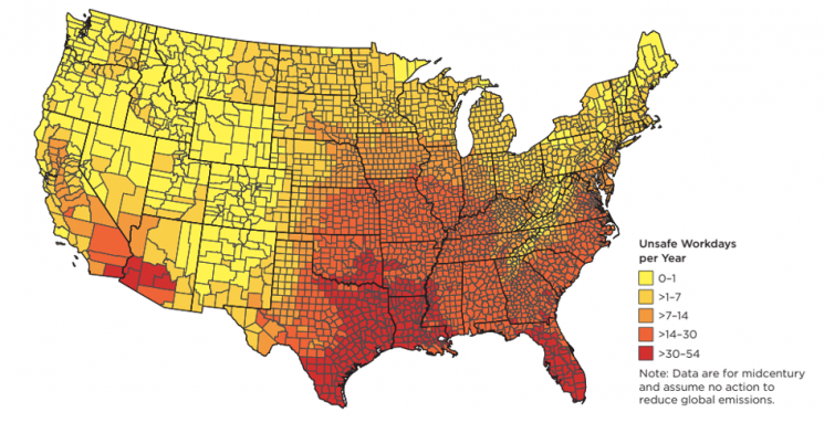 Number of unsafe workdays annually at midcentury (2036-2065) in counties across the contiguous United States as a result of extreme heat without action to reduce heat-trapping emissions.