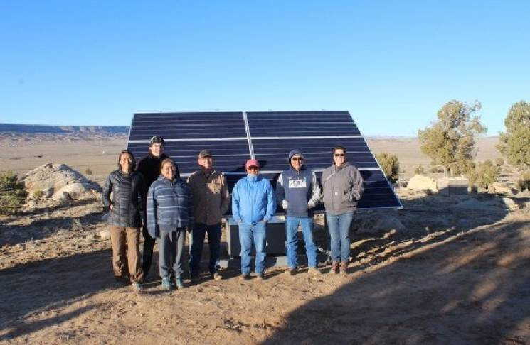 one of the 2.1 kW systems we installed for a family on the Navajo reservation. The system is able to power an energy star rated refrigerator, lights, and small electronics.