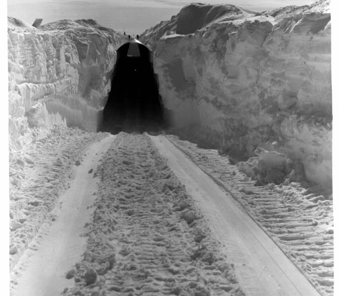 A view of the main trench to the permanent camp at Century Camp, Greenland.