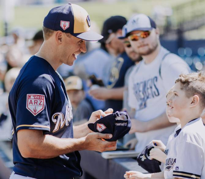 Brent Suter, a pitcher for the Milwaukee Brewers is an inspiration to fans of all ages; Matt Morrison Align Agency
