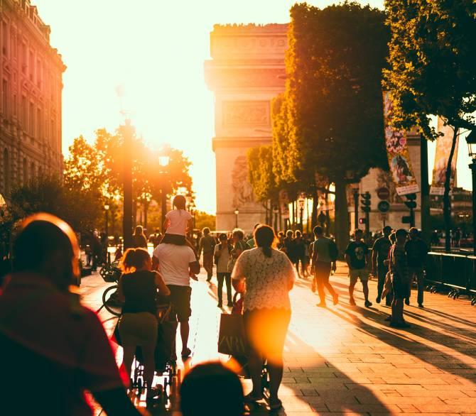 A pedestrian street in Paris, France; Unsplash
