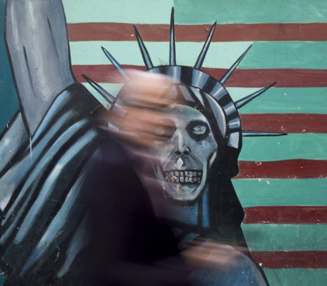 painting of statue of liberty with a skull for its face