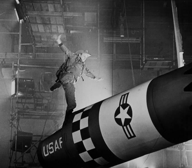 man dances on missile