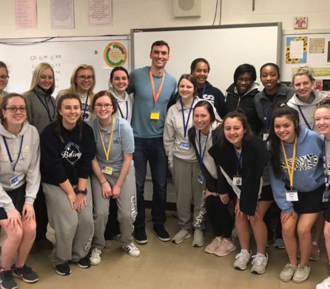 Brent Suter with an environmental science class; Brent Suter