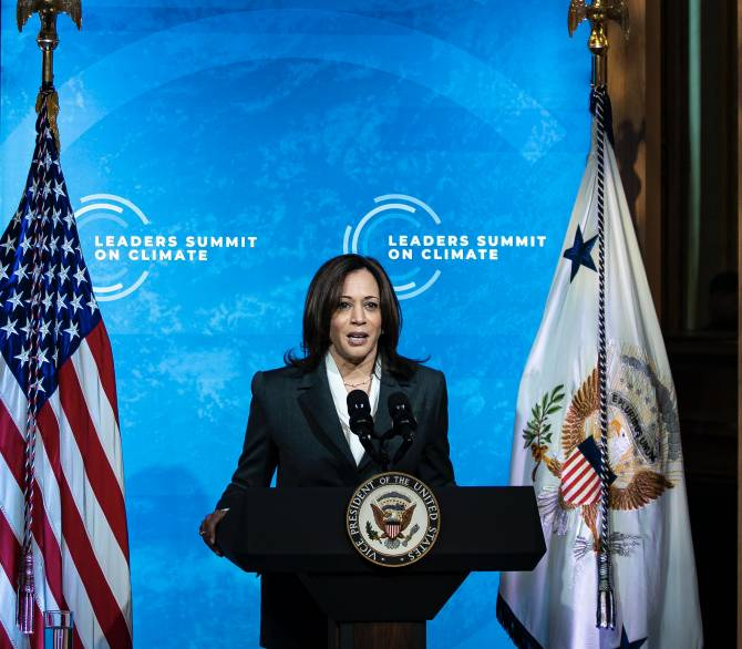 U.S. Vice President Kamala Harris speaks during a virtual Leaders Summit on Climate with 40 world leaders in the East Room of the White House April 22, 2021 in Washington, DC